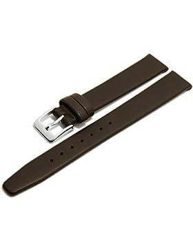 Meyhofer Uhrenarmband Steinfurt 15mm dunkelbraun Leder fein genarbt ohne Naht Made in Germany MyGfklb1509/15mm...