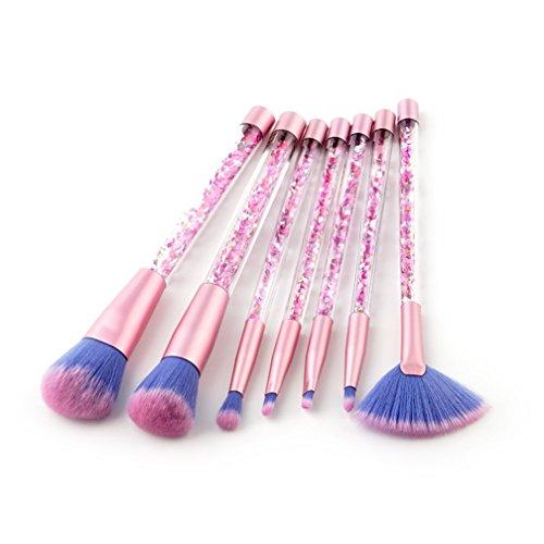 7 Pcs Quicksand Unicorn Série Brillant Cristal Liquide En Plastique Poignée Maquillage Brosses Ensemble Concealer Brosse Beauté Maquillage Cosmétique Outil Kit (7 Pcs)