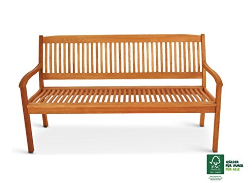 SAM Gartenbank France aus Akazienholz, FSC 100% zertifiziert, 157 cm, 3-Sitzer Holzbank, geölt, Garten-Möbel aus Akazie, massive Holz-Bank für Terrasse