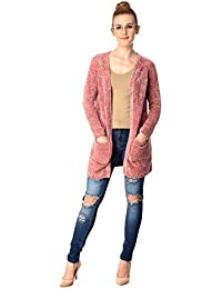 MansiCollections Wool Knitted Dusty Rose Cardigan for Women