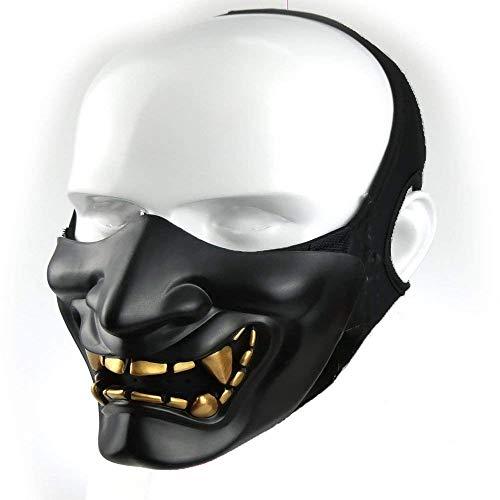 Supspy Samurai Airsoft Maske Taktische Prajna Halbgesicht Hannya Oni Motorrad Böse Demon Ritter Kabuki-Maske für Halloween Cosplay Kostüm Jagd Schießen, (Samurai Jack Halloween Kostüm)