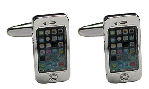 Manschettenknöpfe Mobile Handy Phone - Kommunikation silbern-farbig plus Geschenkbox