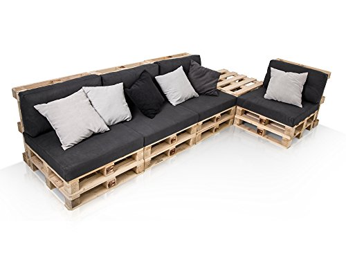 PALETTI Sofalandschaft I Sofa aus Paletten Fichte massiv, Fichte natur