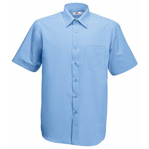 Fruite of the Loom Herren Poplin Kurzarm Business Hemd, vers. Farben Blau - Blau - Mid Blue