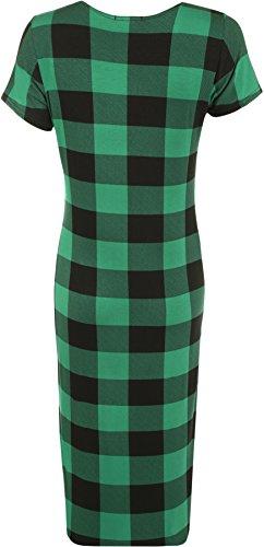 WearAll - Übergröße Lange Überprüfen Tartan drucken Kurzarm Midikleid - 4 Farben - Größe 42-60 Grün