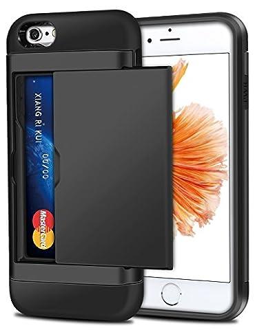 iPhone 6 Hülle, iPhone 6s Case, Coolden® Schlank Kartenfach Case Doppelte Schutz Silikon TPU + PC Bumper 2 Karten Holder Schutzhülle für iPhone 6s Handyhülle iPhone 6 Case Cover (Disney Tinkerbell Licht)