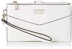Idea Regalo - Guess Colette SLG DBL Zip Organizer, Portafoglio Donna, Nero (White), 18.5x11x2 cm (W x H x L)