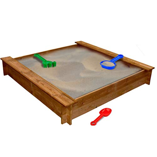41658DE Sandkasten | quadratischer Kinder Holz Quadratisch Sandkasten | 120 x 120 x 20 cm | Sandbox Holz für Kinder