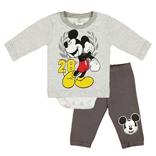 Jungen Baby-Set 2-teilig von Mickey Mouse in GRÖSSE 56, 62, 68, 74, 80, 86 im Lagen-Look, Baby-Schlafanzug mit Druck-Knöpfen, Spiel-Anzug mit T-Shirt-Baby-Body und Langer Hose Size 56 (Anzug Im Junge)