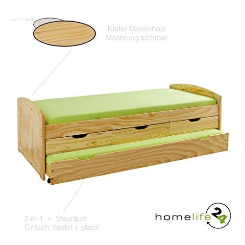 Bett 90×190 90×200 Kinderbett Funktionsbett Kojenbett Gästebett Massivholzbett weiß natur Schubladen NEU