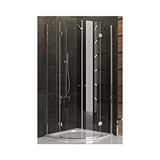 Shower / Real Glass Shower Cubicle Approx. 90 x 90 x 200 CM / Shower Cabin Frameless / Alpenberger / Model Beli Clear 90 x 90 CM Shower Enclosure made from safety glass