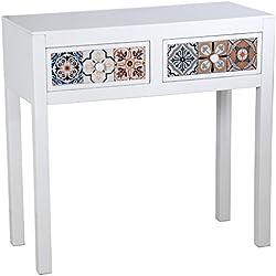 Recibidor - Mesa de entrada con 2 cajones de madera en color blanco y cajones mosaico con múltiples colores
