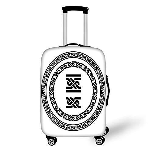 Travel Luggage Cover Suitcase Protector,Celtic,Old Fashion Lace Celtic Knots Symbol Medieval Design Artsy Vikings Theme Graphic,Black White,for Travel S Stretch Lace Shell