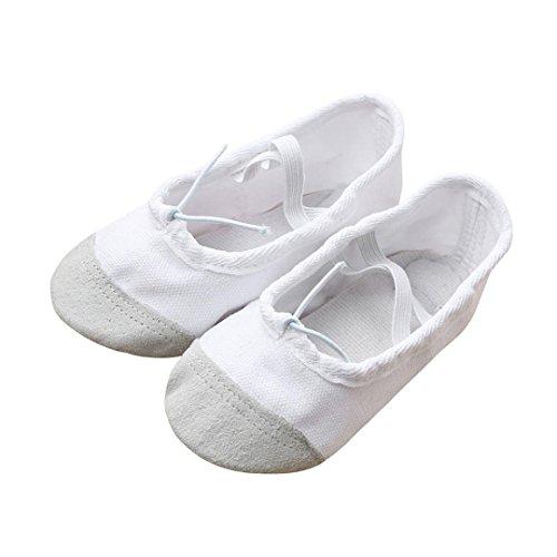 FNKDOR Ballerinas Schuhe, Mädchen 22-35 Segeltuch Ballett Pointe Tanzschuhe Fitness Gymnastik Hausschuhe (28, Weiß)