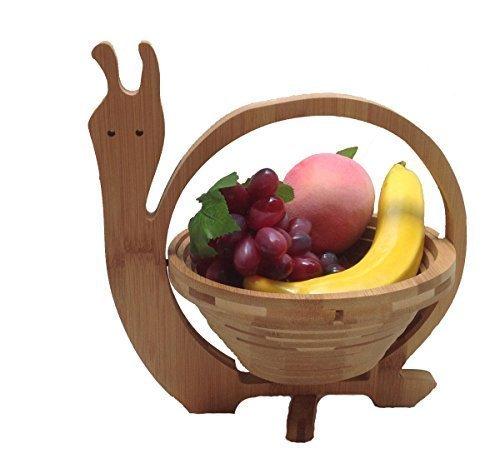 GMMH Panier pliable en bambou escargot Bol décoratif, Bol de fruits, en bois