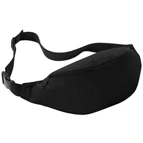 UIlarma Unisex Gürteltasche Sport Outdoor Hüfttasche Oxford Tasche Einstellbare Band (Lila) Schwarz