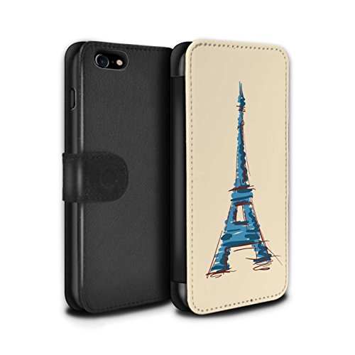 Stuff4 Coque/Etui/Housse Cuir PU Case/Cover pour Apple iPhone 7 / Statue de la Liberté Design / Monuments Collection Tour Eiffel / Paris