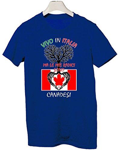 Tshirt Vivo in Italia ma le mie radici sono canadesi - Italy - Canada - humor - idea regalo - in cotone Blu