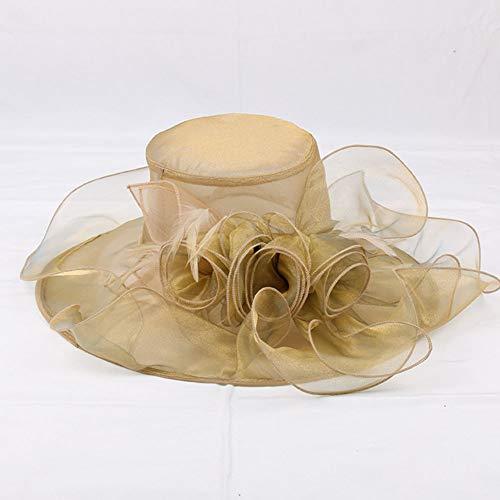 GQ Organza Hut Sonnenhut breiter Krempe Mesh große Blume Sonnenschutz Schatten Hut Frauen Sonnenhut Hochzeit Kirche Hut,Gold Gold-ei Cup
