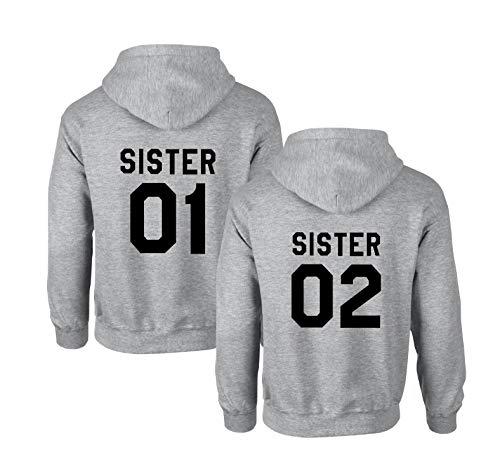Best Friends Hoodies für Zwei Mädchen Sister Freunde Pullover Set für 2 Damen Langarm Kapuzenpullover Pulli Freundin BFF Geschenke Schwarz Grau (Grau - 1, 01-S + 02-S)