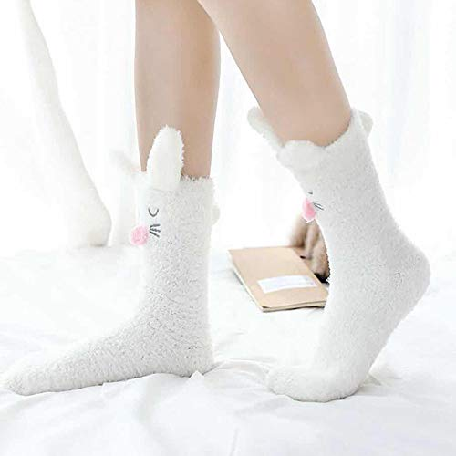 Anglewolf-1-Pair-Unisex-Casual-Christmas-Cartoon-Animal-Antiskid-Medium-Stockings-Sleeping-Socks-Premium-Soft-Warm-Microfiber-Fuzzy-Winter-Cozy-Home-Gift-Womens-Fluffy-Stripes-C