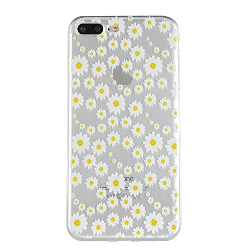 iPhone 7 Plus Custodia, iPhone 7 Plus Cover in Silicone TPU Transparente, JAWSEU Creativo Disegno Super Sottile Cristallo Chiaro Custodia per Apple iPhone 7 Plus Corpeture Case Antiurto Anti-scratch S Crisantemo