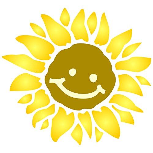 Sun Schablone, wiederverwendbar, große Sunshine Blume Baby Kinder Kindergarten lachende Sonne Wand–Vorlage, auf Papier Projekte Scrapbook Tagebuch Wände Böden Stoff Möbel Glas Holz etc, L