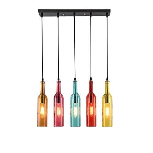 Vintage Industriell Wind Pendelleuchte Hängelampe Pendellamp Hängeleuchter Bunt Glas Wein Flasche Lampenschirm Retro Anhänger Leuchter Lampe Kronleuchter,E27 Glühbirne enthalten,Höhenverstellbar -