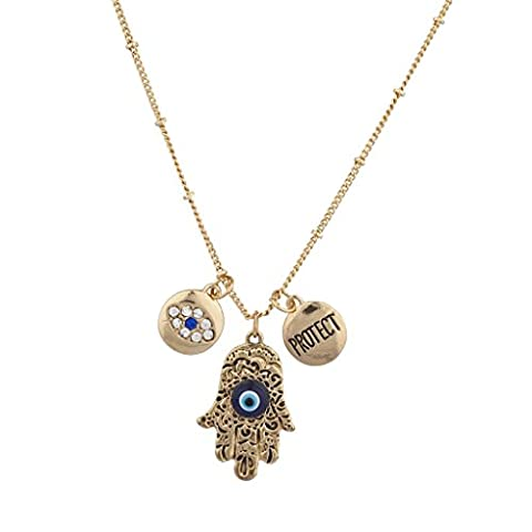 Lux Accessoires Burnish Boho or Evil Eye Hamsa Protège–Collier Femme–Anglais - Magnetic Sterling Silver Ring
