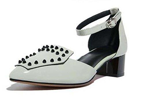 Beauqueen Scarpin Niet Knöchelriemen Mädchen Frauen Pumps Casual PARTY Low Heel Elegant Leder Schuhe Rot Hellgrau Europa Größe 34-39 light gray