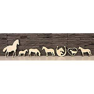 7 Stück Pferde – Motive aus Sperrholz 4mm