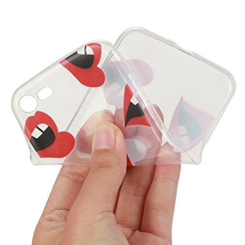 Für Apple iPhone 7 4,7 Zoll,Sunrive® Schutzhülle Etui Hülle transparent weich ultra slim TPU Silikon Rückschale Silicon Cover Tasche Case Bumper Abdeckung Handyhülle(tpu Einhorn)+Gratis Universal Eing tpu Mund