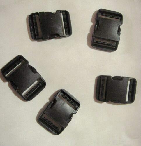 FidgetGear Fastex Schnalle für seitliche Öffnung, 38 mm, 5 Stück, Schwarz