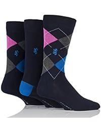 Mens 3 Paar Pringle of Scotland Aryle und Plain Bamboo Socken