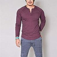 zxc Top Hombres Camiseta De Manga Larga con Cuello De Botones De Color Puro,Rojo,S