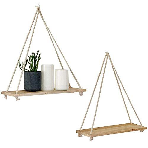 XIYAO 1 STÜCKE Holz Hängen Schaukel Seil Schwimm Regale Rustikale Wand Display Regale Home Organizer für Wohnzimmer Schlafzimmer Bad Küche -