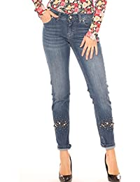 Key-Di Jeans Skinny Donna in Denim Cotone Stretch con Strass e Perle 39e2220e882