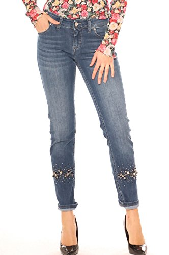 Jeans skinny donna in denim cotone stretch con strass e perle Jeans