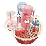 Tischdeckenshop24 Küchen Abtropfgestell - Heart Pink - mit Abnehmbarer Schale für Kleine Flaschen, Babyflaschen und Geschirr