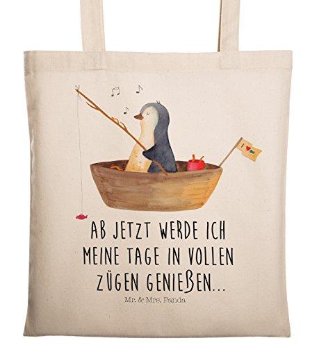 Mr. & Mrs. Panda Beutel, Stofftasche, Tragetasche Pinguin Angelboot mit Spruch - Farbe Transparent