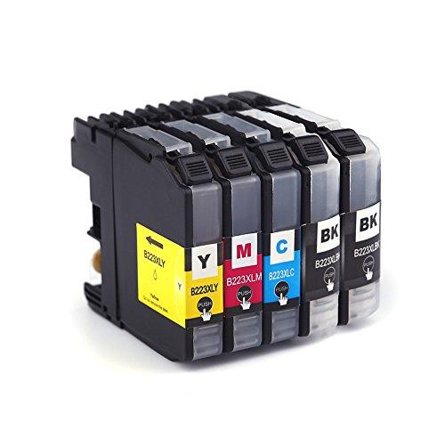 Azprint 5er Set Kompatibel Brother LC223 XL Druckerpatronen für Brother MFC-J5320DW DCP-J4620DW DCP-J4120DW DCP-J562DW J5620DW J5625DW J5720DW J4420DW J4625DW J480DW J680DW J880DW Drucker | 2 Schwarz,1 Blau,1 Rot,1 Gelb, Hohe Kapazität mit Chip (10 Combo Pack Kompatibel)