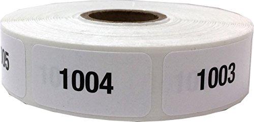 Blanco con Negro 1001 - 2000 Número Consecutivo Pegatinas, 19 x 38 mm 3/4 x 1 1/2 Pulgadas Ancho, 1 Etiqueta por Número, 1000 Etiquetas Totales