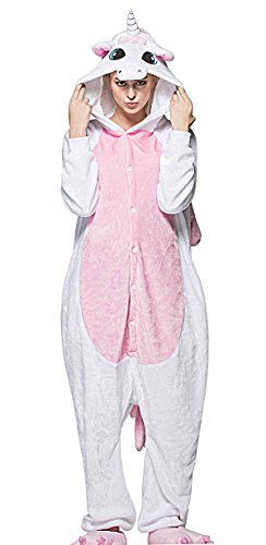 Aivtalk Kinder Flanell Pajama Schlafanzug Kostüm, für Fasching Kinderparty Karneval, Einteilig Nachtwäsche Tierkostüm Jumpsiut Größe S für Körpergrößer 148-159cm - Einhorn (Kostüme Demon Girl)