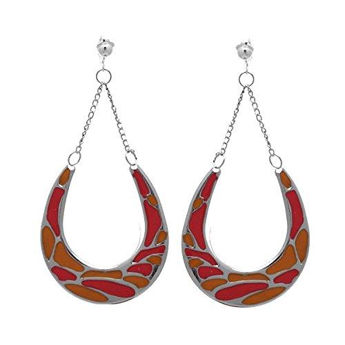 Horseshoes Argento Arancione e Clip On Earrings