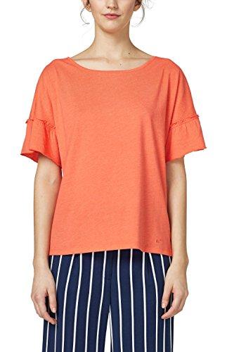 edc by ESPRIT Damen T-Shirt 048CC1K115, Orange (Coral Orange 5 874), X-Small (Orange Coral)