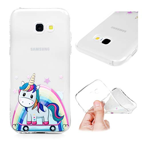 Hülle für Samsung Galaxy A5 2017, Gemalt Handyhülle Case, Soft TPU Schale Schutzhülle Handytasche Anti Fallen Stoßdämpfung Cover in Farbe Skateboarding Biest