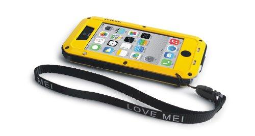 Love Mei Schutzhülle (stoßfest, staubdicht, Aluminiumlegierung und aus ORIGINAL Gorilla GLAS-für iPhone 5C Black with Red Port Cover