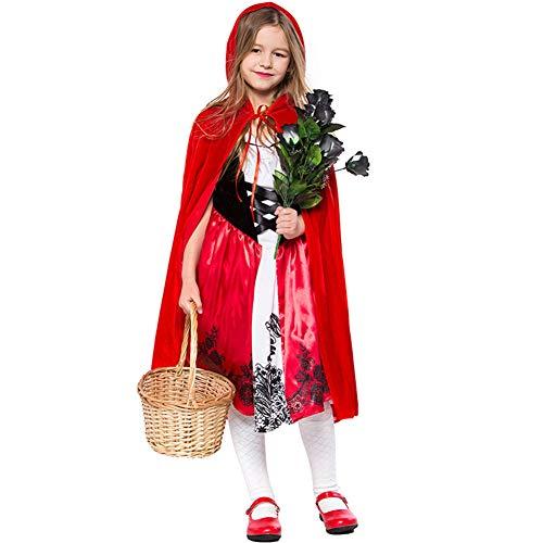 CJJC Nettes Mädchen-rotes Kostüm, kreative gedruckte Kleider mit dem mit Kapuze Mantel, der für Schulbühnen-Leistungs-Festival-Partei Cosplay Gebrauch ideal ist L (Nette Kreative Kostüm Kinder)
