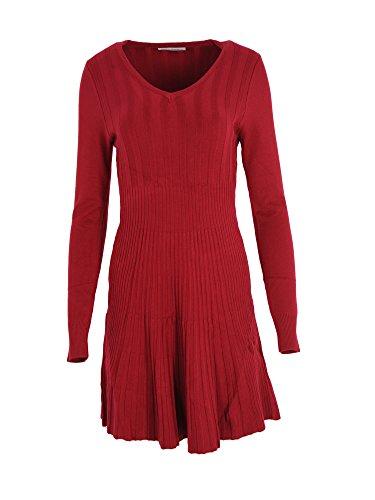 Modefaszination Kleid Strickkleid Knielang Herbst Winter Kleid Bequem Warm 12680 (S/M (34/36), Rot)