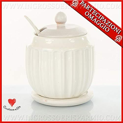 Ingrosso e risparmio cuorematto - zuccheriera in ceramica con cucchiaino e base in legno, bomboniere stile shabby chic nozze, con scatola regalo inclusa (con confezione bianca)